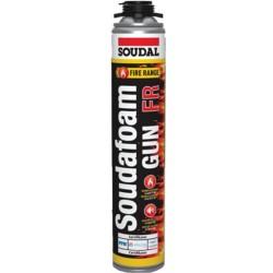 Soudal - Soudal Soudafoam FR Yangına Dayanıklı ve Yangın Geciktirici PU Köpük Kırmızı Tabancalı 750 ml