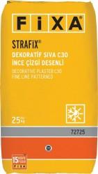 Fixa - Fixa Strafix Dekoratif Sıva C30 İnce Çizgi Desenli Beyaz 25 kg
