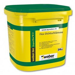 Weber - Weber Superflex D 2 Çimento Esaslı Çift Komponentli Yüksek Elastikiyete Sahip Hızlı Priz Alan Su Yalıtım Harcı 24 kg